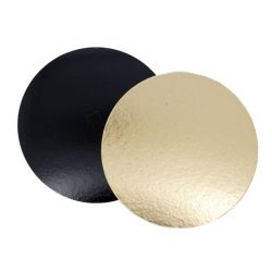 Rond carton or / noir (x100)
