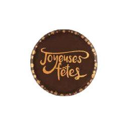 Disques scintillants chocolat noir Joyeuses Fêtes (x96)