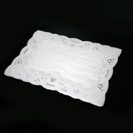Dentelle rectangle blanche 26x37 (x100)