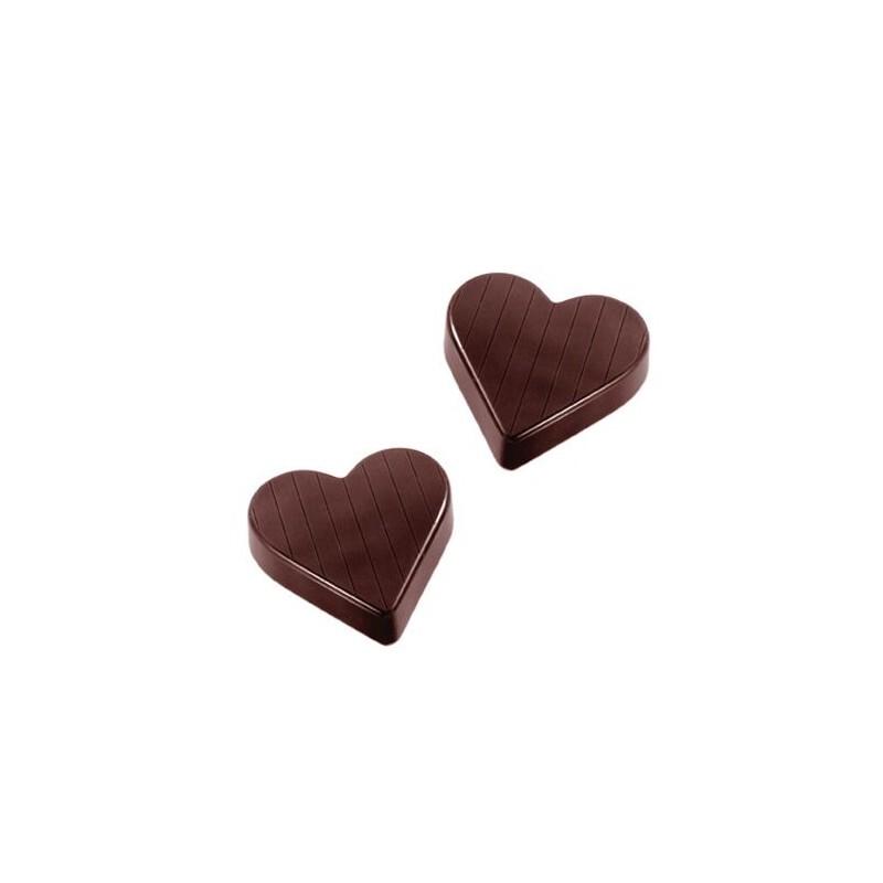 Moule chocolat coeurs lignés 5 cm
