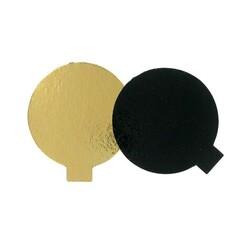 Rond carton Noir / Or individuel 8 cm (x200)