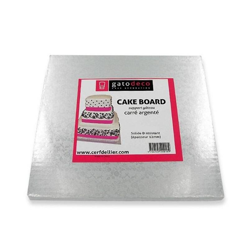 Carton carré argent - cake board (pièce)