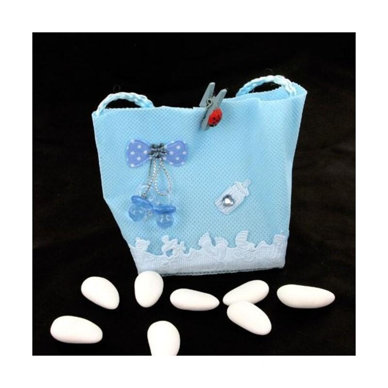Pochette dragées fantaisie bleue (x12)