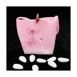 Pochette dragées fantaisie rose (x12)