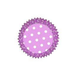 Caissette cupcake lilas pois (x50)