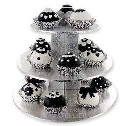 Présentoir cupcakes argent rond