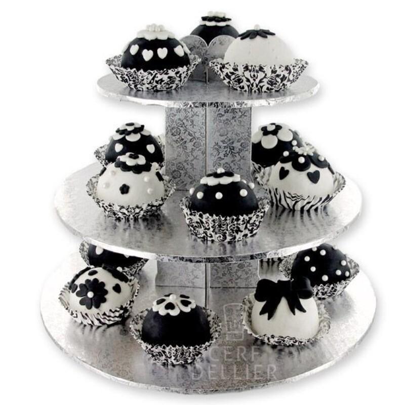 Présentoir à cupcakes argent Gatodéco