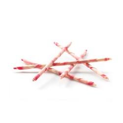 Bâtons de chocolat rayés blanc et rose (x14)