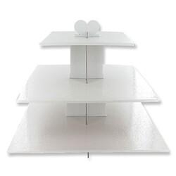 Présentoir cupcakes blanc carré