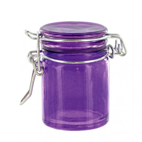 Mini bocal verre bas violet (x12)