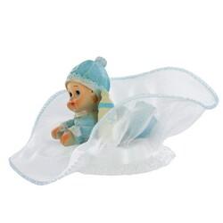 sujet figurine baptème Bébé garçon couché tulle