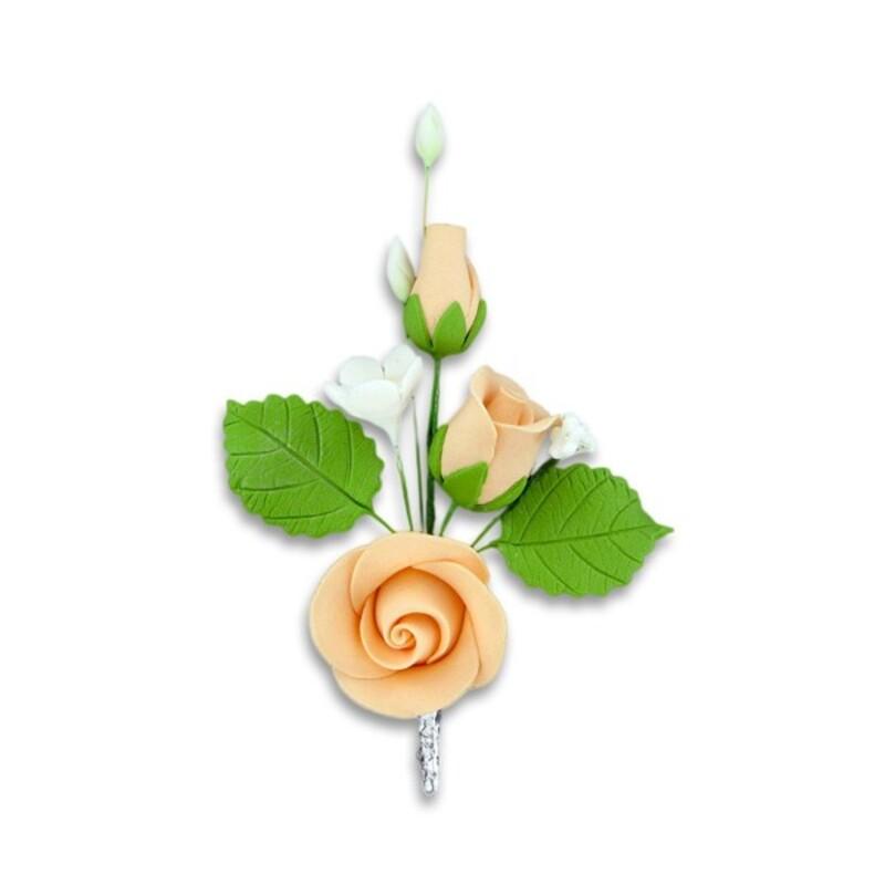 Bouquet de roses pêches pastillage Gatodéco (x5)
