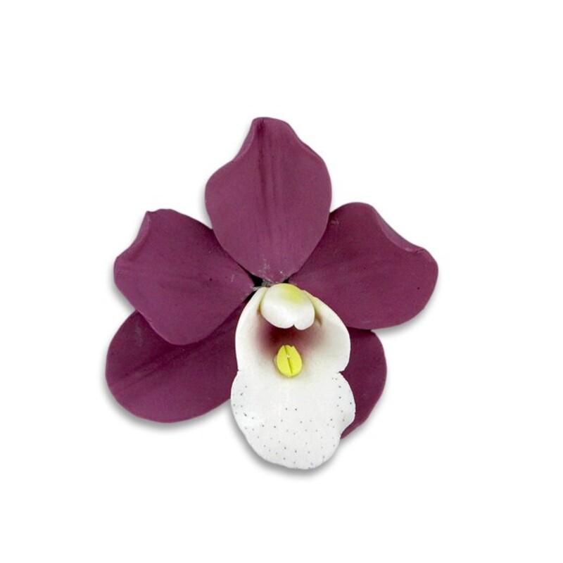 Orchidée violette en pastillage Gatodéco