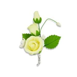 Bouquet de roses jaunes pastillage Patisdécor (x5)