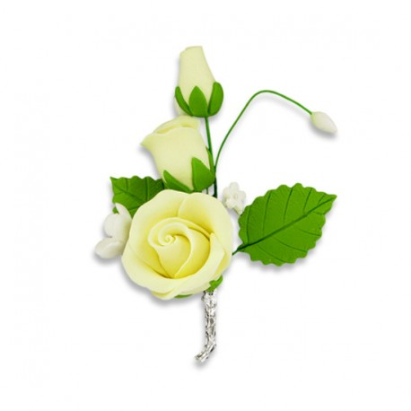 Bouquet de roses jaunes pastillage M (x5)