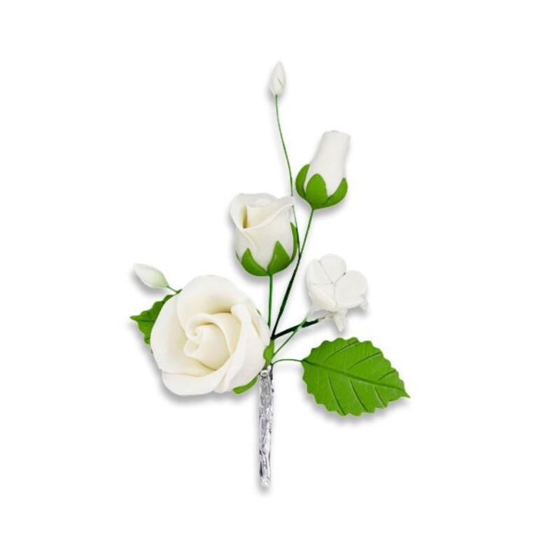 Bouquet de roses blanc en pastillage Gatodéco