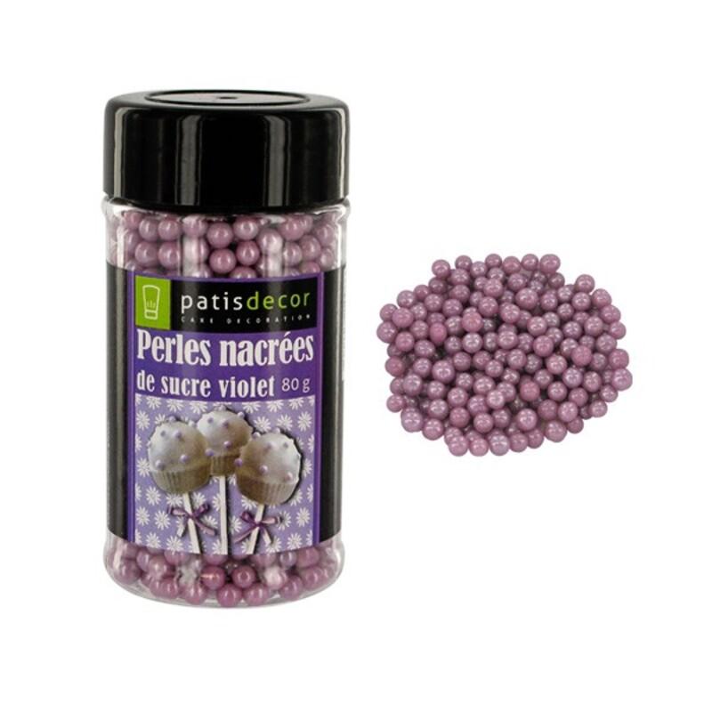 Perles sucre nacrées violettes Patisdécor