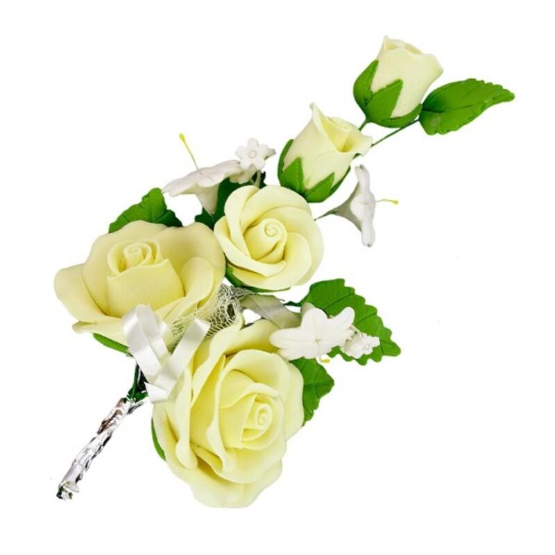 Bouquet de roses jaunes pastillage Gatodéco (x3)