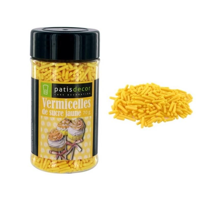 Vermicelles sucre jaunes Patisdécor