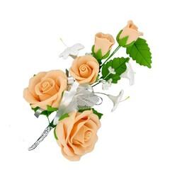 Bouquet de roses pêches pastillage Patisdécor XL (x3)