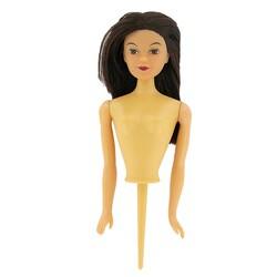Buste de poupée brune sur pique PME