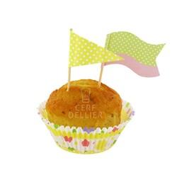 Kit déco cupcakes à pois pastels Gatodéco