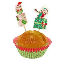 Kit déco cupcakes Chouette Noël Patisdecor