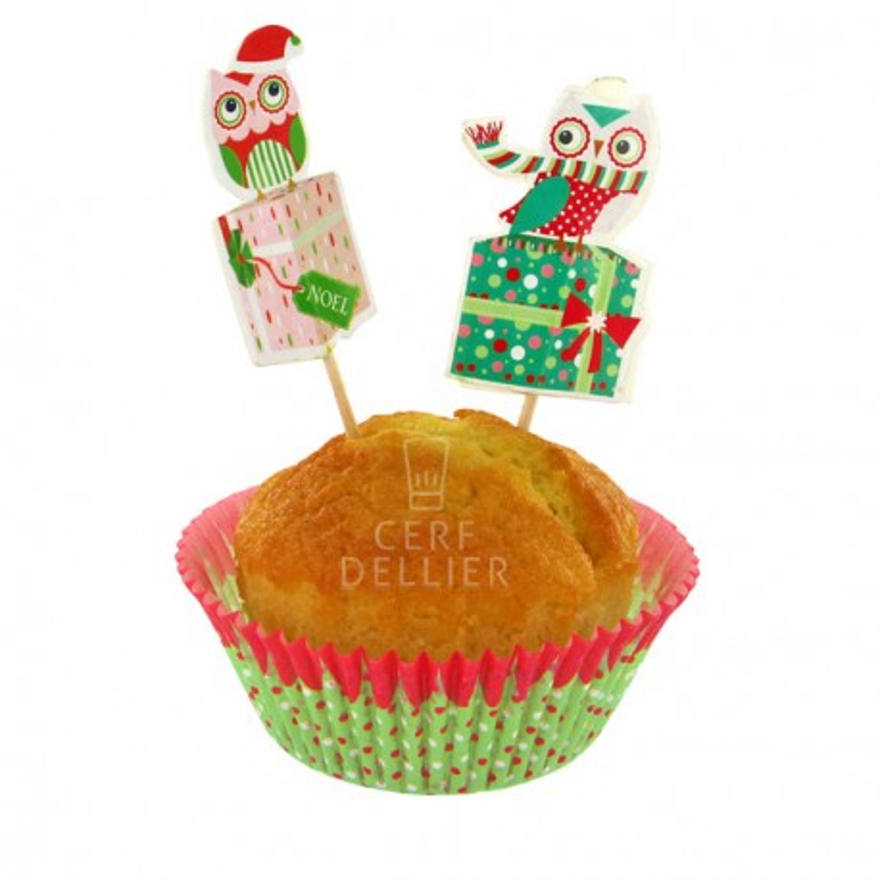 Kit déco cupcakes Chouette Noël Gatodéco