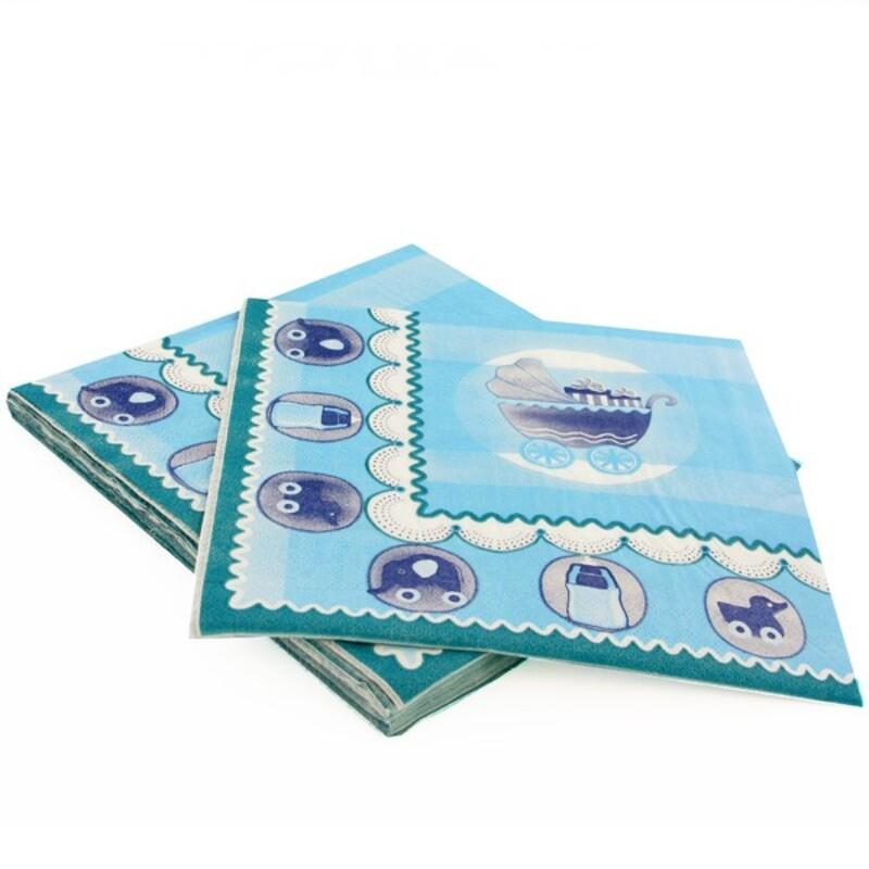 20 Serviettes en papier baptème bleu Gatodéco