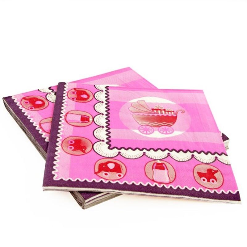 20 Serviettes en papier baptème rose Gatodéco