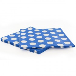 20 Serviettes papier bleu pois blanc Gatodéco