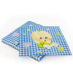 20 Serviettes en papier vichy bleu Gatodéco