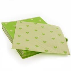 20 Serviettes en papier lin coeurs verts Patisdecor