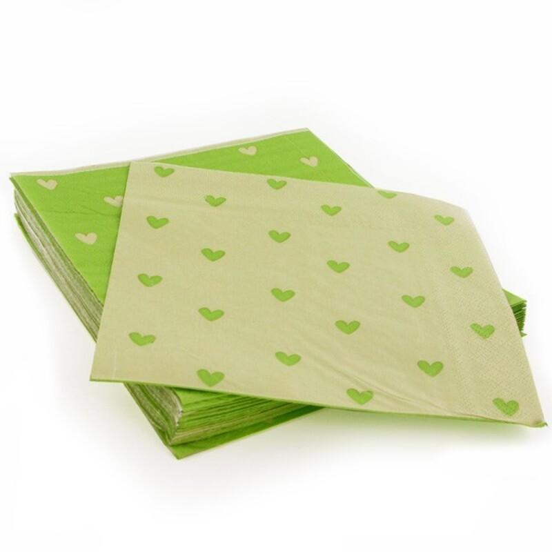 20 Serviettes en papier lin coeurs verts Gatodéco