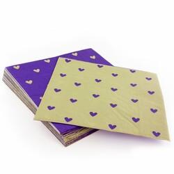20 Serviettes en papier lin coeurs Violets Patisdecor