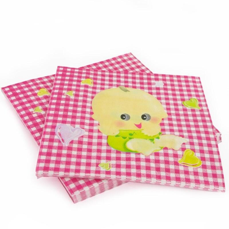 20 Serviettes en papier vichy rose Gatodéco