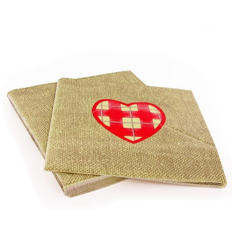 20 Serviettes en papier taupe coeur rouge Gatodéco
