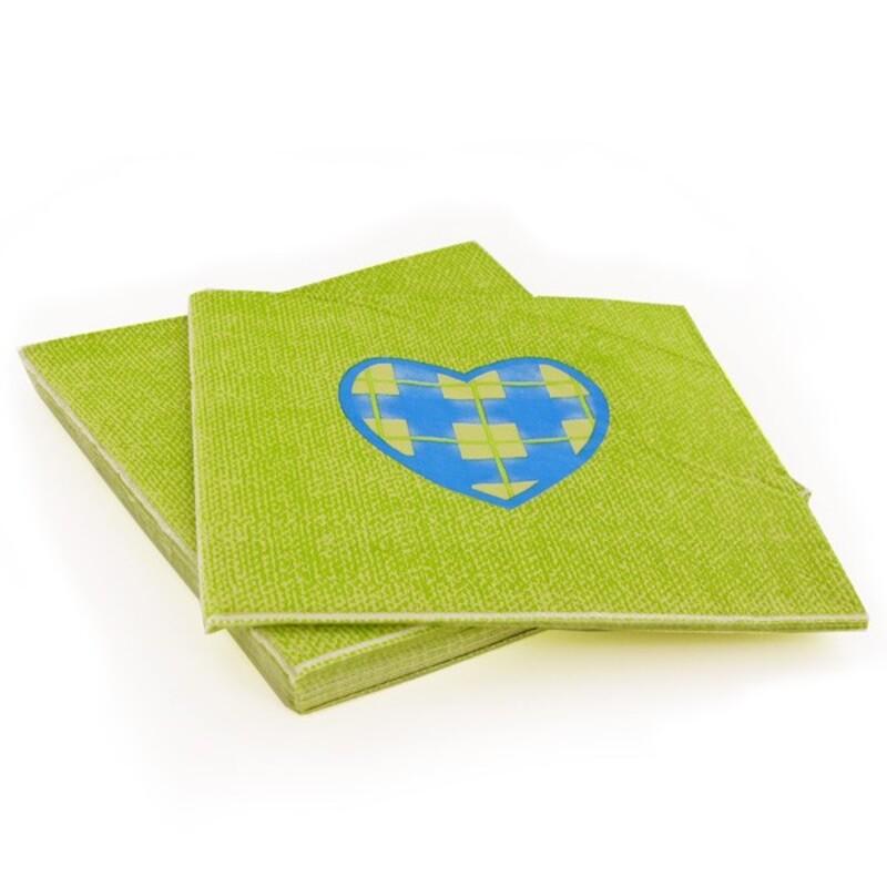 20 Serviettes en papier anis coeur bleu Gatodéco
