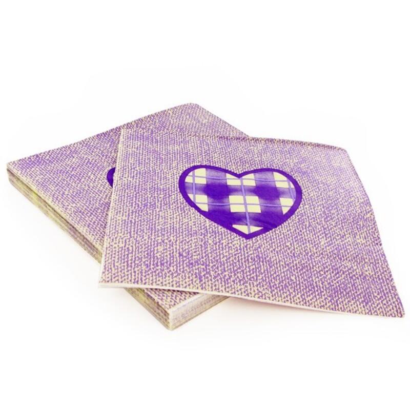 20 Serviettes en papier coeur violet Gatodéco