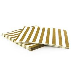 20 Serviettes en papier rayures or Gatodéco