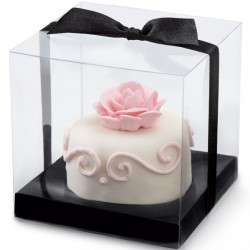 Boîte à cupcakes noire à pois blancs (x3)