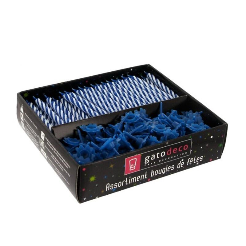 Bougies torsadées et bobèches bleues Gatodéco (par 125)
