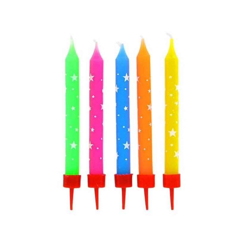 Bougies colorées étoiles Gatodéco (x 10)