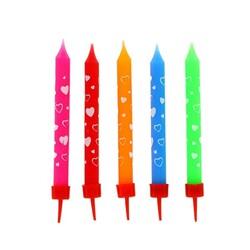 Bougies multicolores coeurs Patisdécor (x 10)