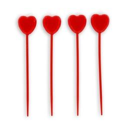 Bougie coeur rouge sur longue pique Gatodéco (x 4)
