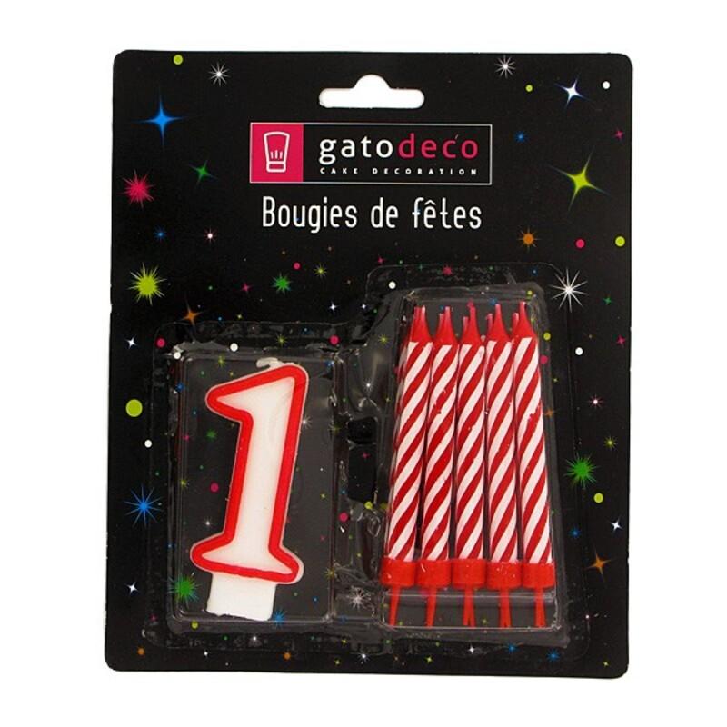 Ensemble de bougies chiffre 1 rouge Gatodéco