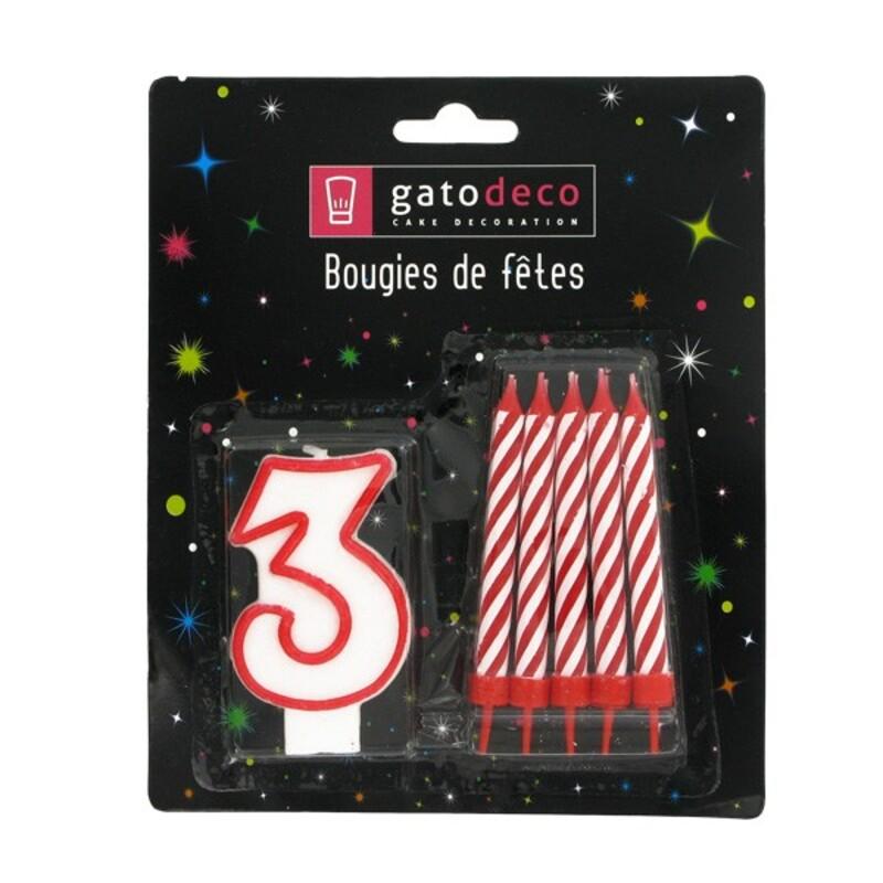 Ensemble de bougies chiffre 3 rouge Gatodéco