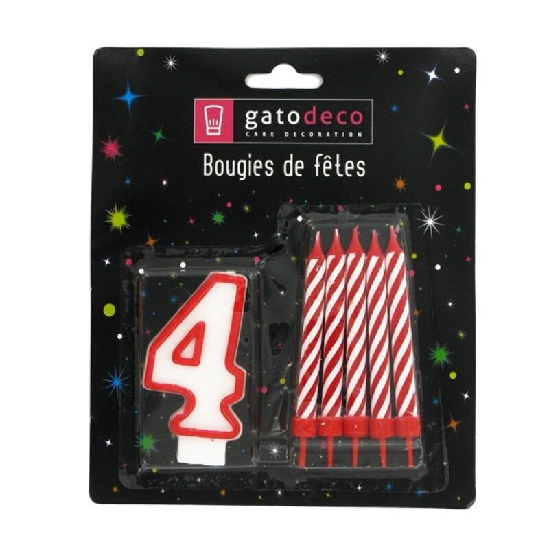 Ensemble de bougies chiffre 4 rouge Gatodéco