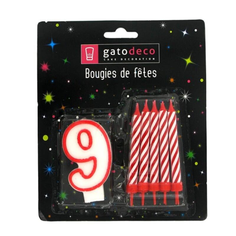 Ensemble de bougies chiffre 9 rouge Gatodéco
