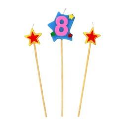 Bougies chiffre 8 et étoiles sur piques Patisdécor